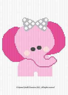 Crochet Patterns - Pink Elephant W/Bow Graph/Chart Baby Girl Afghan Pattern Elephant Quilt, Crochet Elephant, Elephant Pattern, C2c Crochet Blanket, Crochet Blanket Patterns, Quilt Patterns, Crocheting Patterns, Elephant Cross Stitch, Cross Stitch Baby