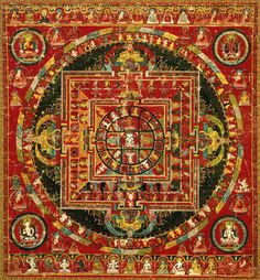 Vairocana Mandala 16th century Tibet. Vairocana is an iconic figure in Mahayana and especially Vajrayana buddhism. He is generally seen as a universal buddha, the personification of the Dharmakaya and the Illuminator of Wisdom.