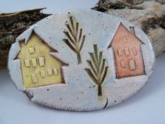 houses w/ trees ceramic tile by MyOtherLittleShop on etsy
