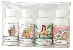 Terranova Island Escapes Petal Soft Lotion Gift Set 2.25 fl oz Bottles by Terra Nova. $18.00. Authentic, true-to-nature aromas. Pikake, White Ginger, Tiare Lei and Tuberose fragrance. Experience four of the magical island scents by Terranova. A wonderful way to try Terranova's popular island scents. Four TSA approved lotions : 2.25 fl oz each. Experience the magical and famous island scents of Terranova with these silky, easily absorbed and paraben-free Petal S...