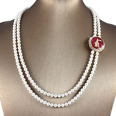 Elegance and Pearls Swarovski® Red and Gold Necklace