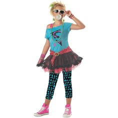 The Tween Girls Valley Girl Costume is the best 2019 Halloween costume for you to get! Everyone will love this Girls costume that you picked up from Wholesale Halloween Costumes! Costume Punk, Star Costume, Retro Costume, Costume Dress, 80s Girl Costume, Eighties Costume, Rock Costume, Costume Works, Hippie Costume