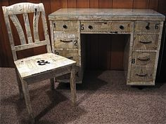 Funky Up Cycled VINTAGE Writing DESK and CHAIR. Maybe find an old Harry Potter or Narnia book at the used book store and use the pages to cover a chair. Decoupage Desk, Decoupage Vintage, Decoupage Furniture, Painted Chairs, Painted Furniture, Furniture Makeover, Diy Furniture, Vintage Writing Desk, Writing Bureau