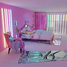 Teen girl bedrooms, check this idea for one surprising magical room styling, ref number 1502533447 Cute Bedroom Ideas, Cute Room Decor, Girl Bedroom Designs, Room Ideas Bedroom, Awesome Bedrooms, Cool Rooms, Bedroom Decor, Neon Bedroom, Girls Bedroom