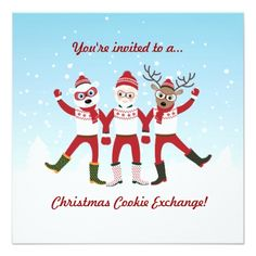Shop Christmas Cookie Swap Party Invite created by noboringwhite. Personalize it with photos & text or purchase as is! Merry Christmas, Christmas Photo Cards, Kids Christmas, Christmas Presents, Xmas, Swap Party, Christmas Cookie Exchange, Cookie Swap, Christmas Party Invitations