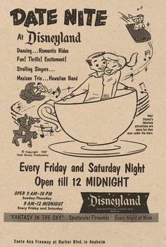 "1957 ""Date Night at Disneyland"" ad. :D Date Night at Disneyland, Date Nights are great nights at Disneyland! Disney Nerd, Disney Love, Disney Magic, Disney Parks, Walt Disney World, Disney Pixar, Disney Stuff, Disney Villains, Orlando Disney"