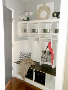 entryway mudroom cubbies with locker dividers, Home Heart and Hands featured on Remodelaholic.com