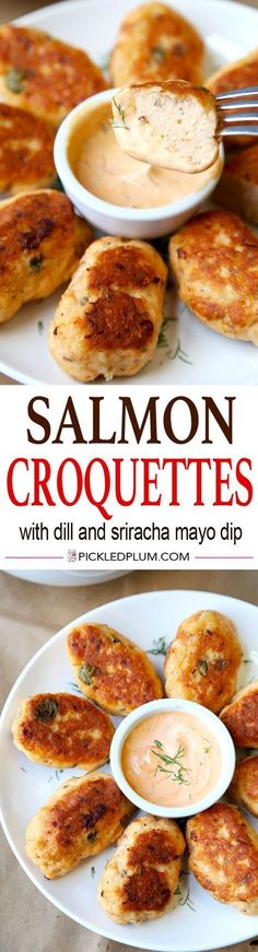 Healthy Salmon Croquettes Recipe with Tangy Dill and Sriracha Dipping Sauce. Light, Tasty and only 20 minutes to make! Easy, Healthy, Seafood, Recipe | http://pickledplum.com