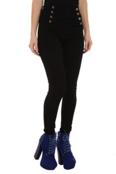 Cello Black Sailor High-Waisted Skinny Jeans
