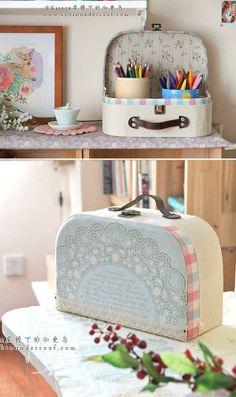 maleta de cartonagem com revestimento em tecido