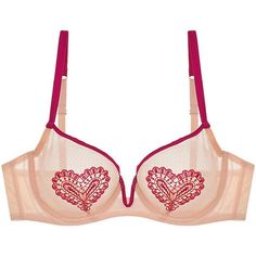 Mimi Holliday Wild Strawberry Bra ($71) ❤ liked on Polyvore featuring intimates, bras, hot pink, demi bra, lingerie bra, plunge bra, loose bra and demi cup bra