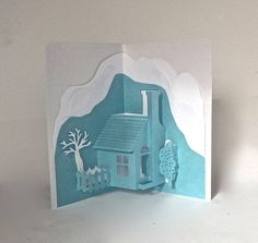 HOME and SNOW MOUNTAINS Pop-Up 3D Card Home Décor Origamic