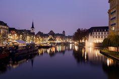 France, Alsace, Strasbourg, Canal and Saint Williams Church