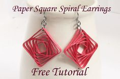 Square Swirl Earrings – Free Paper Quilled Jewelry Tutorial using Border Buddy.... love this