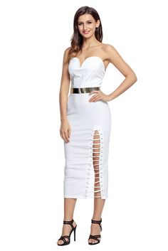 White Strapless Sweetheart Side Slits Tube Midi Dress