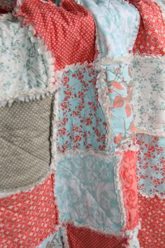 Crib Rag Quilt Baby Girl Crib Bedding Coral Aqua by justluved