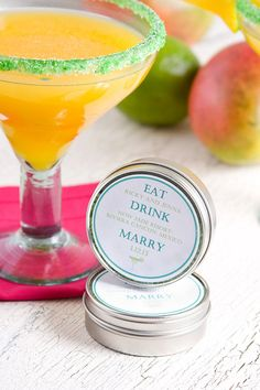 "Save the date & party favors -- with tins filled with margarita salt, customized labels & ""her favorite"" and ""his favorite"" margarita recipe cards. Salt can be pure white - or can be color matched to coordinate with event theme. From Dell Cove Spice Co. on Etsy (http://dellcovespices.etsy.com - Photo by Selena Vallejo Photography)"