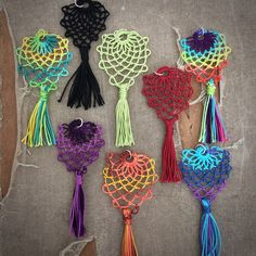 Pine Cone Lace and Tassel Pendant  Armenian Lace  Oya  by TotusMel