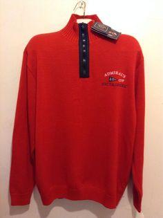 Paul&Shark Yachting Authentic Cotton Men's Italian Red Shirt Sweater Sz XL $490 #PaulSharkYachtingAuthentic #12Zip
