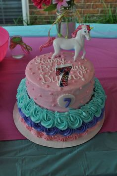 Horse themed cake - customer added candle & horse on top