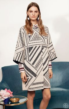 The Statement Jacquard: A blanket-inspired cotton knit in an outfit-making geometric pattern | Tory Burch Spring 2015