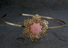 Gold Filigree Headband Pink -Sleeping Beauty - Gold Antique Filigree Headband inlaid With Resin Flower