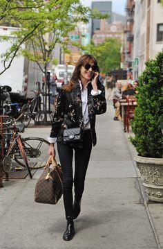 Alexa Chung, Chanel Mini Classic Flap Bag and Louis Vuitton Mon Monogram Keepall Bag