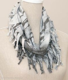 Pale Grey Smudgy Print Short Knotted Cowl Scarf