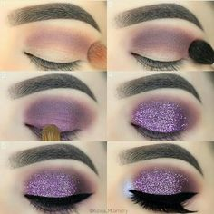 Makeup Tutorial Purple Glitter Eyeshadow #makeup #makeuptips #makeuptutorials