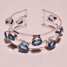 Faceted Swiss Blue Topaz Quartz .925 Silver Handmade Bangle Cuff Jewelry H121 #Handmade