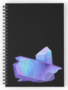Purple crystal amethyst spiral notebook. Shop now: http://www.redbubble.com/people/marianamello/works/23611054-purple-crystal-amethyst-angel-aura-quartz-geode?asc=u&p=spiral-notebook&rel=carousel