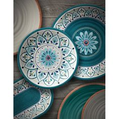 Rose Baeza Melamine 12 Piece Dinnerware Set, Service for 4 TarHong Moroccan Medallion 12 Piece Dinnerware SetTarHong Moroccan Medallion 12 Piece Dinnerware Set Melamine Dinnerware Sets, Square Dinnerware Set, Tableware, Pottery Painting Designs, Pottery Designs, Ceramic Cafe, Ceramic Pottery, Keramik Design, Hand Painted Ceramics