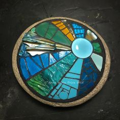 Best 12 Stained glass, shell, silver backed glass, ceramic and glass bead. Mosaic Rocks, Mosaic Stepping Stones, Stone Mosaic, Mosaic Glass, Stained Glass, Glass Art, Glass Ceramic, Mosaic Birdbath, Mosaic Garden Art