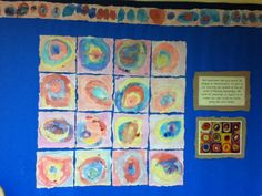 Kandinsky inspired art work ~ mixing own inks and adding texture with chalks