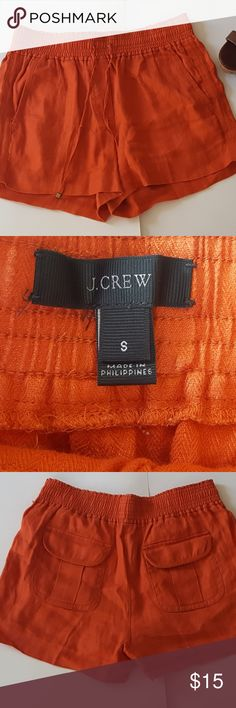 Jcrew Stretch Shorts JCrew 100% linen shorts with tie front. $16 shipped. Size S. **end of tie broken off** Measurements Taken Lying Flat (approximate) Waist: 28in (14in) Inseam: 3in. Rise: 11in. J. Crew Shorts