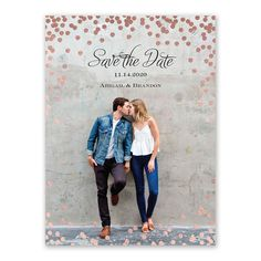 The glow of multiple polka dots in your choice of sparkling foil wraps your photo and wording in warmth and beauty.