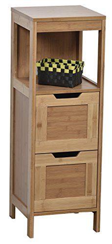Niedriger Badezimmerschrank - 2 Schubladen + 1 Fach - exotischer Stil - aus BAMBUS