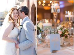 Light blue and gray reception details. Tidewater Inn Easton Maryland Wedding. Laura's Focus Photography
