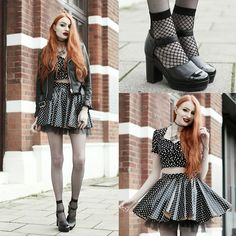 Unif Faux Leather Jacket, Style London Polka Dot Top, Black Milk Clothing Polka Party Cheerleader Skirt, The Serpents Club Clear Quartz Necklace, Asos Fishnet Socks, Asos 'Painter' Patent Heeled Mary Janes
