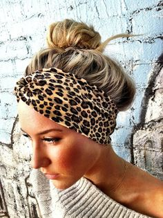 Leopard Fuzzy Thick Turban Headband Twisted Hair by ThreeBirdNest, $18.50