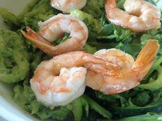 "Zucchini ""pasta"" with avocado pesto, arugula and shrimp"