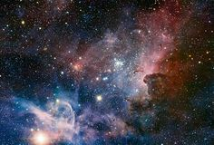 This broad image of the Carina Nebula, a region of massive star formation in the southern skies, was taken in infrared light using the HAWK-...