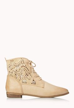 Rustic Girl Lace-Up Boots | FOREVER21 Lace up your booties! #Crochet #FauxLeather #Boots