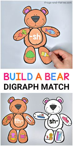 Practice digraphs with this fun bear building activity! Kids will be matching beginning and ending digraphs to build adorable bears! Use this activity as a literacy center activity, morning word work practice or just a fun digraph matching game. Fun Learning Games, Phonics Games, Word Work Activities, Montessori Activities, Alphabet Activities, Kindergarten Activities, Fun Phonics Activities, Abc Learning, Teaching Phonics