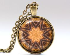 Beautiful Geometry pendant. Awesome Fractal jewelry with a chain or a leater cord. Nice Bohemian necklace in bronze or silver finish. SIZE: 25 mm (1