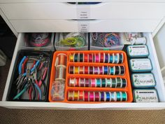 Wire and pliers. Artistic Wire sorted by gauge in a silverware tray. Beads and already coiled wire are stored in the Altoids tins. I used the drawers from my old 3-drawer bins to store items in the back of the drawer.  I try to reuse items when I can.