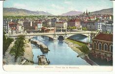 Geneve. Pont de la Machine  Vintage c.1910 Postcard by StarPower99, $6.00