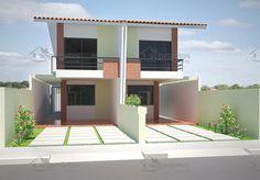 Projeto de casa Geminada, com 2 dormitório, e uma suíte com acesso a varanda.      Garagem com área de 17,74 m²      Sala de estar e jantar conjugadas.    <stro...