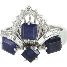 Ruby Red Tag 30% Off Sale!Kyanite Diamond Tiara Cocktail Ring Vintage 14 Karat White Gold Estate Fine Jewelry