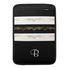 Black Gold White Border Pattern Monogram MacBook Air Sleeve - classy gifts custom diy personalize
